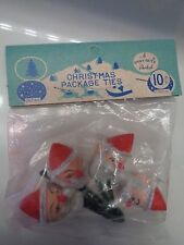 Vtg 40s-50s Shiny Brite Christmas SANTA Package Tie-Ons Composition Face NOS