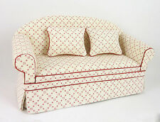Dollhouse Miniature Ashley White Sofa with Red Dots, A160