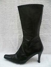 JANE SHILTON UK4 SIZE 37 LADIES BLACK ALL LEATHER MID CALF BOOTS GOOD CONDITION