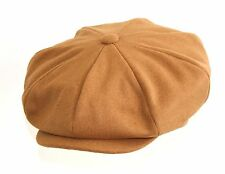 BRAND NEW MEN'S CAMEL WOOL POLYESTER 8 PIECE PEAKY BLINDERS FLAT CAP BIG APPLE