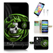 Samsung Galaxy S5 Flip Wallet Case Cover! P1079 Skull