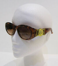 Tortoise Shell and Gold Plastic Frame Retro Oval Sun Glasses With Brown Tint