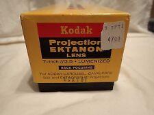"""Kodak Projection Ektanon Lens - Rack focusing, 7 inch 7"""" F/3.5 lumenized In Box"""