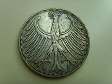 1951 F GERMANY SILVER 5 MARK FEDERAL REPUBLIC GERMAN COIN FUNF MARKS