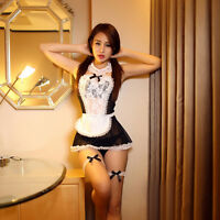 Women Sexy Lace Halloween Costume Cosplay French Maid Outfit Fancy Dresses FO