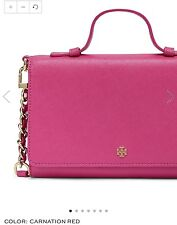 NWT TORY BURCH Smartphone CARNATION RED Robinson Pink mini CROSSBODY leather BAG