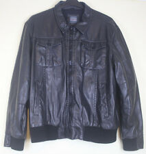 "Jeff Banks 24:7 Zip Faux Leather Jacket Coat Mens Size Large (23"" pit to pit)"