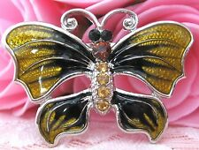 Girls Yellow Butterfly Crystal Rhinestone Brooch new