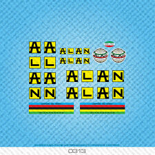 Alan Bicycle Decals Transfers Stickers - Black On Yellow Background - Set 313