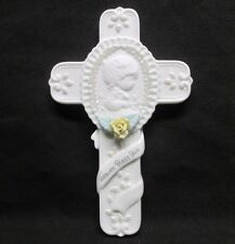 """Precious Moments Baby Christening Gift 4.5"""" Cross Bisque Porcelain"""