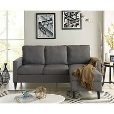 Sectional Sofa with Reversible Chaise Modern Grey Loveseat Couch Bed Furniture