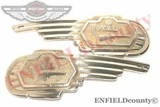 NEW PAIR ROYAL ENFIELD BULLET TANK SOLID BRASS BADGES @CAD