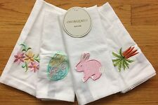Cynthia Rowley Embroidered Easter Bunny Rabbit Carrots Egg Cloth Napkins Set 4