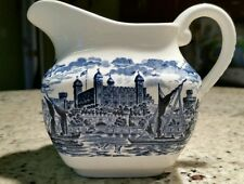 WEDGWOOD china ROYAL HOMES OF BRITAIN-BLUE & WHITE pattern Creamer Pitcher/Jug