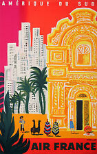 Travel AIR France south america  Vintage Art print Bernard Villemot A1 size