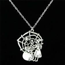 """10-4 Silver Web Poisonous Spider Witch Pendant Chain Collar Choker Necklace 18"""""""