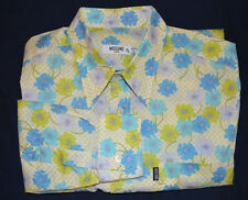 MOSCHINO Men White Blue Green Floral L/S Check Slim Fitted Shirt Large L graham
