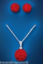 Sterling Silver Red Austrian Crystal Ball Pendant & Earrings Set