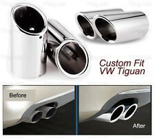 2Pcs Silver Exhaust Muffler Tail Pipe Tip Tailpipe for VW Tiguan 2008-2016