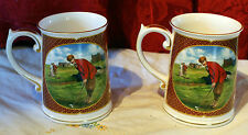 2 Handsome ROYAL WORCESTER Golfing Collection Mugs/Steins Design Melvyn Buckley