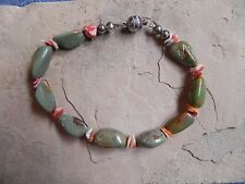 """Green Turquoise & Spiny Oyster Beaded Bracelet 8 3/4"""" long Navajo"""