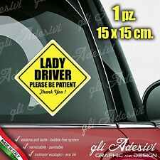 Adesivo Stickers Auto Moto Camper LADY DRIVER ON BOARD segnale a bordo
