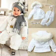 Baby Girl Boy White Hooded Belted Snow Suit Jacket + Trousers Winter Down Coat