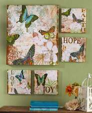 5-Pc Canvas Wall Art Set Butterflies Love Joy Living Room Den Accent Home Decor