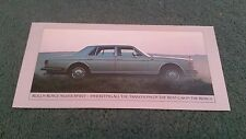 1981 ROLLS ROYCE SILVER SPIRIT SPUR + BENTLEY MULSANNE UK SMALL FOLDER BROCHURE