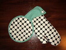 NEW Grandway Oven Mitt & Pot Holder Set - Cream Dot/Teal Pattern - FREE SHIPPING