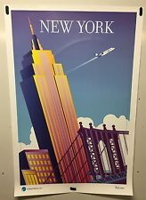Original vintage travel Airline poster New York Independence Air