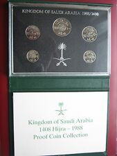 Kingdom Saudi Arabia Hijra 1408 1988 5 coin proof collection set cased COA Rare!