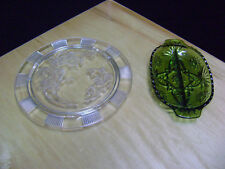 "Vintage clear  Glass Footed Cake Plate ""Roses"" w/ bonus green relish dish"