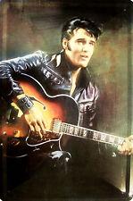 Elvis the King with Guitar Blechschild Schild Blech Metall Tin Sign 20 x 30 cm
