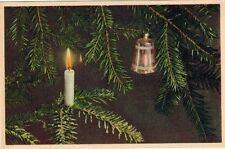 Christmas X-Mas Candle Bell Tree Unposted Postcard PC  Post Card