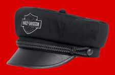 HARLEY DAVIDSON MENS CAPTAIN STYLE B&S Faux Leather Bill Black Cotton (M) HAT