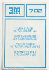 3M 702 Super 8 Splicer Manual Instruction Sheet - English De Fr It - USED B95