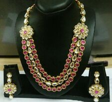 INDIAN TRADITIONAL GOLD PLATED  DIAMOND & KUNDAN NECKLACE EARINGS JEWELLERY SET
