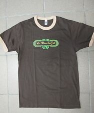 Men's American Apparel Tee shirt MR WONDERFUL cotton Brown Green made USA sz S