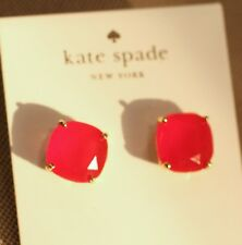 GUMDROP KATE SPADE ROUND SQUARE CUSHION CUT STUD EARRINGS GLOW CHINESE RED