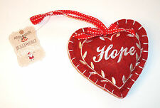 "4"" PADDED FELT Hope HEART HANGING DECORATION Red w/ CREAM EMBROIDERY RIBBON LOOP"