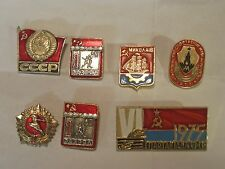 7 x vintage Russian pin lot 1970's sport sports ornate metal Russia CCCP