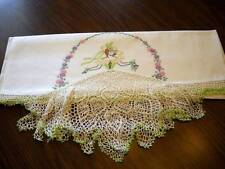 Green/White Crocheted Set of Southern Belle Crinoline Lady Pillowcases Embroider