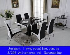 1 glass top black/white Dining table & 4 chairs | Free to Melbourne metro