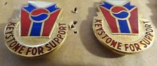 MILITARY INSIGNIA CREST DUI SET OF 2  UNSURE KEYSTONE FOR SUPPORT KOREA #2
