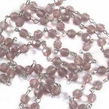 """1 ft 12"""" inch Light Mauve Pink Rosary Chain Faceted Glass Beads Silver Link 6mm"""