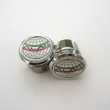 Vintage Style 'ALAN' Chrome Racing Bar Plugs, Caps, Repro