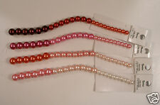 """Ombre / Graduated Pink to Red Pearl Style Beads ~6mm to ~9mm 4 x 7"""" Strands"""