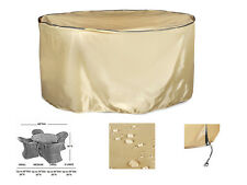 """Outdoor Round Table and Chair Set Cover,All Weather Protection,Tan,60""""x36"""""""