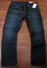 Guess Slim Straight Leg Jeans Men's Size 33 X 30 Low Rise Dark Distressed Wash
